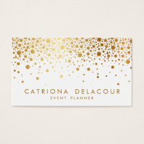 Faux Gold Foil Confetti Business Card | White
