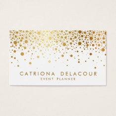 Faux Gold Foil Confetti Business Card | White at Zazzle