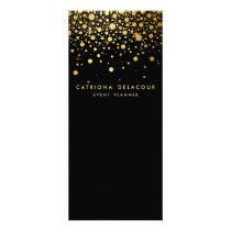 Faux Gold Foil Confetti Business Rack Card | Black