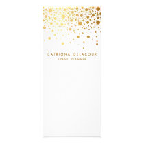 Faux Gold Foil Confetti Business Rack Card | White