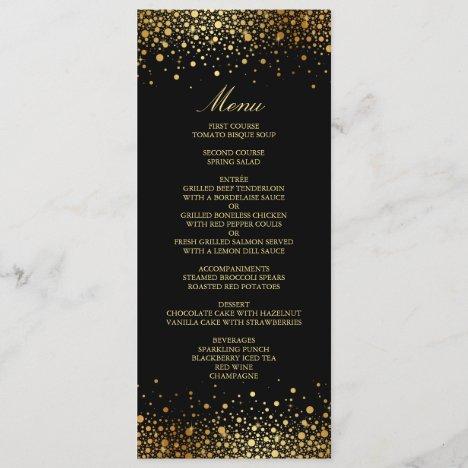Faux Gold Foil Confetti Dots Black Wedding Menu