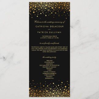 Faux Gold Foil Confetti Dots Black Wedding Program