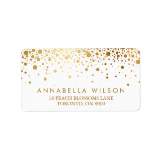 Faux Gold Foil Confetti Dots Elegant Address Label