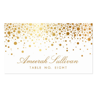 Faux Gold Foil Confetti Dots Elegant Place Cards