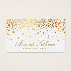 Faux Gold Foil Confetti Dots Elegant Place Cards at Zazzle