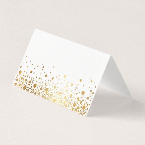 Faux Gold Foil Confetti Dots II Place Card