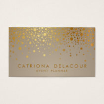 Faux Gold Foil Confetti Dots Modern Business Card