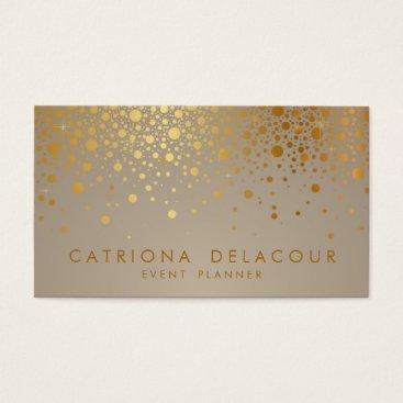 misstallulah Faux Gold Foil Confetti Dots Modern Business Card