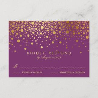 Faux Gold Foil Confetti Dots Purple RSVP Card