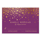 Faux Gold Foil Confetti Dots Purple RSVP Card
