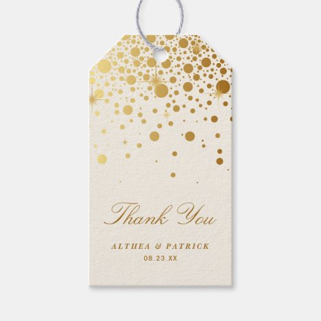 Faux Gold Foil Confetti Dots Thank You | Ivory Gift Tags