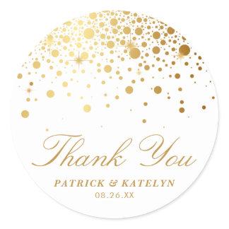 Faux Gold Foil Confetti Dots Thank You Sticker
