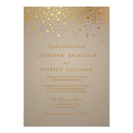 Gold Foil Wedding Invitations: Faux Gold Foil Confetti Dots Wedding Invitation