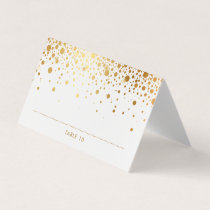 Faux Gold Foil Confetti Dots Wedding Place Cards
