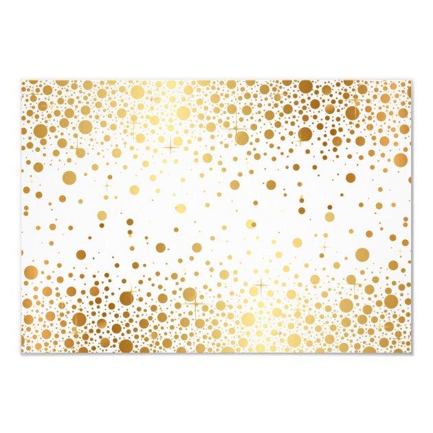 Faux Gold Foil Confetti Dots Wedding RSVP Card | Zazzle