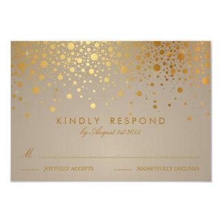 Faux Gold Foil Confetti Dots Wedding RSVP Card II