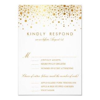 "Faux Gold Foil Confetti Dots Wedding RSVP Card 3.5"" X 5"" Invitation Card"