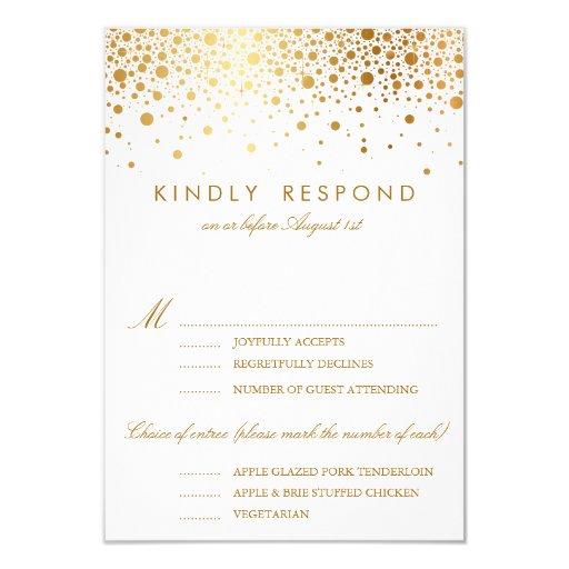gold foil confetti dots wedding rsvp card 3 5 x 5 invitation
