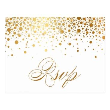 Wedding Themed Faux Gold Foil Confetti Dots Wedding RSVP Postcard