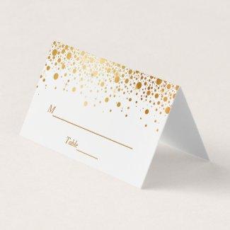 Faux Gold Foil Confetti Dots Wedding Table Place Card