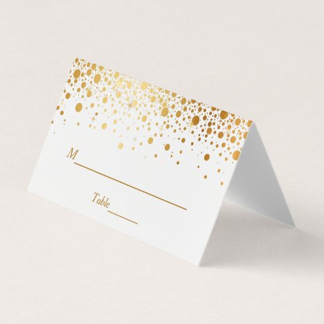 Faux Gold Foil Confetti Dots Wedding Table Place Card