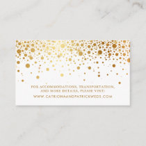 Faux Gold Foil Confetti Dots Wedding Website Card
