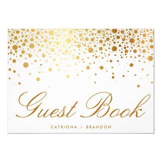 Faux Gold Foil Confetti Elegant Guest Book Sign 5x7 Paper Invitation Card