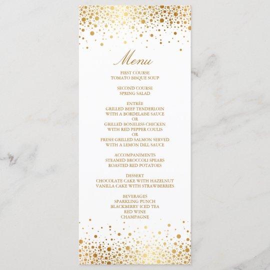 faux gold foil confetti elegant menu card zazzle com