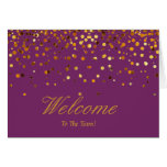 Faux Gold Foil Confetti Elegant Sparkles Welcome Greeting Card