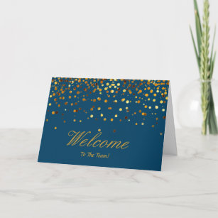 Welcome to the team cards zazzle faux gold foil confetti elegant sparkles welcome card m4hsunfo