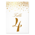 Faux Gold Foil Confetti Elegant Table Number Card