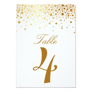 Faux Gold Foil Confetti Elegant Table Number Card Invite