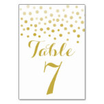 Faux Gold Foil Confetti Elegant Table Number Card Table Card