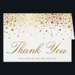 """Faux Gold Foil Confetti Elegant Thank You Card<br><div class=""""desc"""">Customizable thank you card featuring faux gold foil. This is a part of a wedding suite. matching items are available.</div>"""