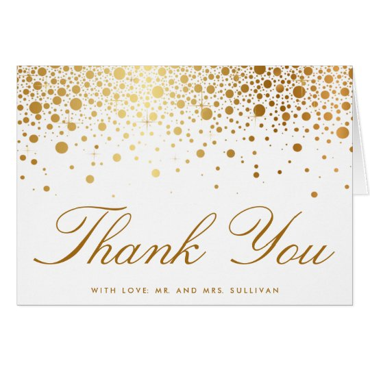 Faux Gold Foil Confetti Elegant Thank You Card | Zazzle.com