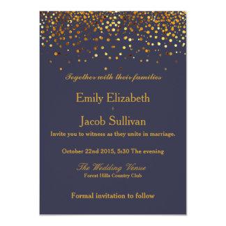 Faux Gold Foil Confetti Elegant Wedding Card