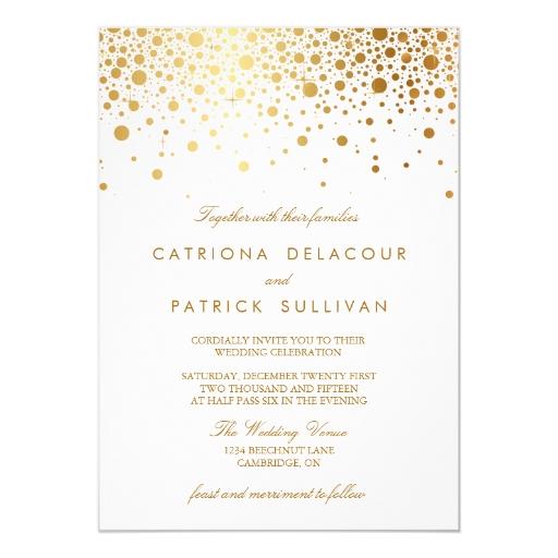 Gold Foil Wedding Invitations: Faux Gold Foil Confetti Elegant Wedding Invitation