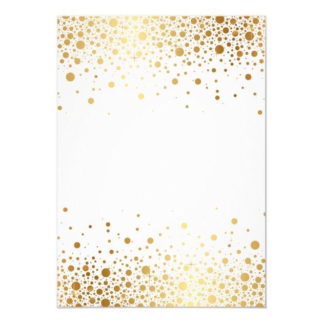 Faux Gold Foil Confetti Elegant Wedding Invitation   Zazzle
