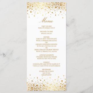 Faux Gold Foil Confetti Elegant Wedding Menu Card