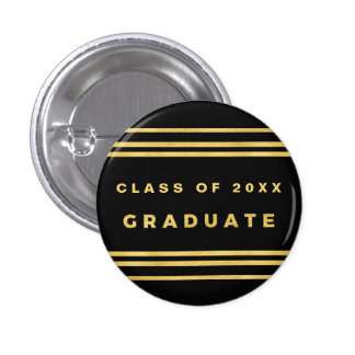 Faux Gold Foil Confetti Graduate Button