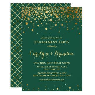 Faux Gold Foil Confetti | Green Engagement Party Card