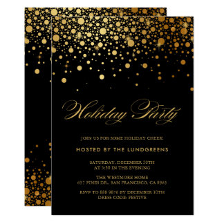 Faux Gold Foil Confetti Holiday Party | Black Card