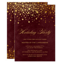 Faux Gold Foil Confetti Holiday Party II Invitation