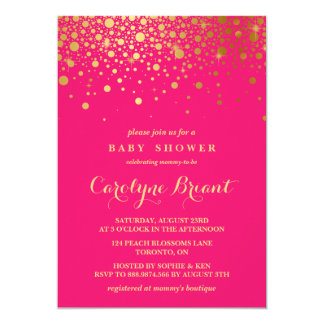 Faux Gold Foil Confetti | Hot Pink Baby Shower Card