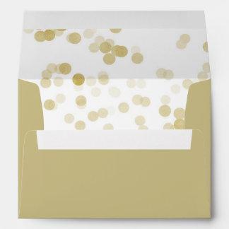 Faux Gold Foil Confetti Liner Envelope