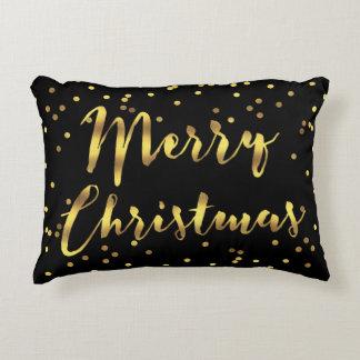 Faux Gold Foil Confetti Merry Christmas Black Decorative Pillow