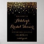 Faux Gold Foil Confetti Modern Black Bridal Shower Poster