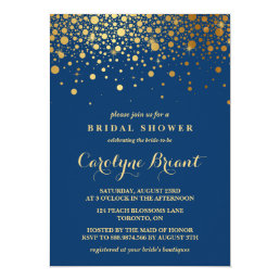 Faux Gold Foil Confetti | Navy Bridal Shower Card