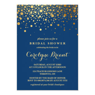 Formal bridal shower invitations announcements zazzle faux gold foil confetti navy bridal shower card filmwisefo Image collections