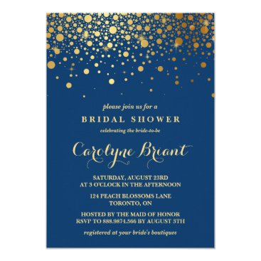 misstallulah Faux Gold Foil Confetti | Navy Bridal Shower Card